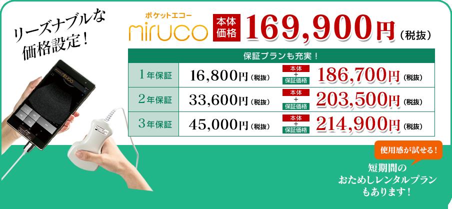 リーズナブルな価格設定!ポケットエコー「miruco」本体価格 169,900円(税抜)